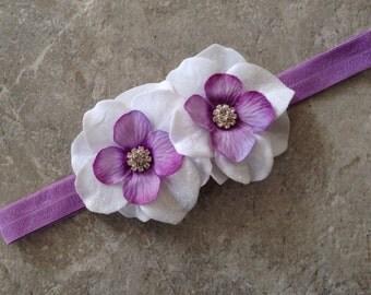 Lavender white headband, Baby Hair Bow, flower headband, baby headbands, floewer headband, baby girl headband, hair bows