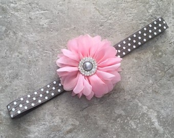 Pink gray headband, newborn headband, baby headband, baby girl headband, flower headband, shabby flower, gray headband, pink flower headband