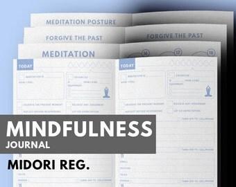 Mindfulness Journal Midori insert printable, Meditation Journal, Gratitude Journal Midori, Midori Refill, Midori Traveller's notebook