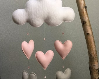 Modern Three Cloud Felt Baby Mobile with by TheWhiteBirchTree