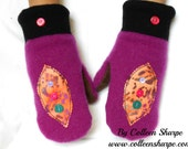 cashmere mittens, upcycled purple wool mittens, suede leather palms,  felt mittens, boho mittens, decorated mittens, fleece lined mittens