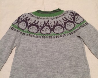 Totoro Sweater- Hand-knit, 100% Wool, women's Large