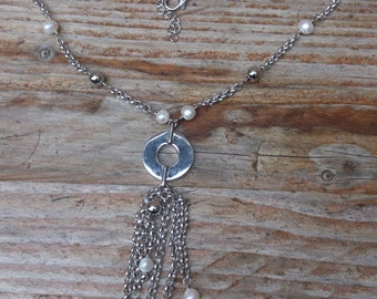 Vintage sterling silver and real pearl necklace with multi strand chains
