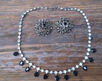 vintage black and white rhinestone earrings and necklace