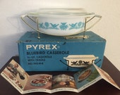 Vintage pyrex promotional casserole Bluebird, Rare Pyrex Casserole with caddy and box