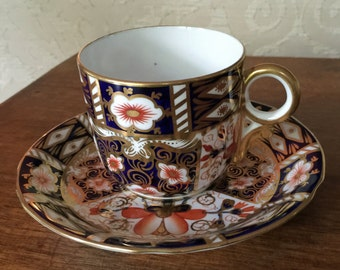 Vintage Cup and Saucer, Royal Crown Derby, Imari, Cobalt and Gold, England, Collectible China, Tea Party, Vintage Gift,Vintage China,Gift, R
