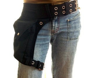 utility belt with an extra strap for the leg and 5 cm metal buckle * festival belt, made also in plus size, steampunk thigh pockets