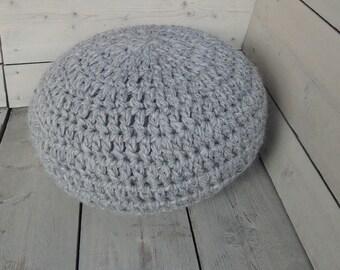 """Unique crochet wool pouf (Ø 50 cm) """"tough"""""""