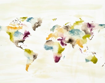 Earth Tones World Map- watercolor giclee print