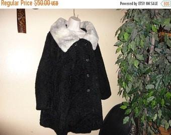 FREE SHIPPING Bonus Fur Vintage 50s  womens Faux Fur Trench Jacket Coat xl 18 20