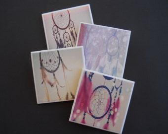 Dreamcatchers ~ Ceramic Tile Coasters ~ Native American Decor ~ Dream Catchers ~ Boho Decor ~ Bohemian Decor ~ Hippy Decor ~ Drink Coasters