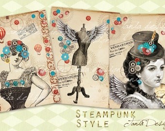 Steampunk Style - Digital Collage Sheet - Set of 8 Atc Cards - digital steampunk-Digital Scrapbooking - Instant Download
