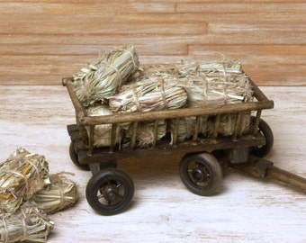 Miniature Hay Wagon for your Dollhouse
