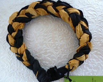 """Antique gold and black silk lushly braided into this chic Sari Silk Headband - """"jewelry for your hair""""."""
