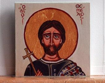 St Themelios of Kalymnos, Canvas Art print- Greek Saint Themelis or Themelina island culture religious folk art and tradition made in Greece