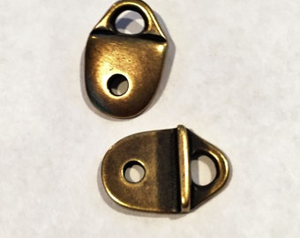1 Set TierraCast Antique Brass Smooth Strap Tips, Cord End for Flat leathers,
