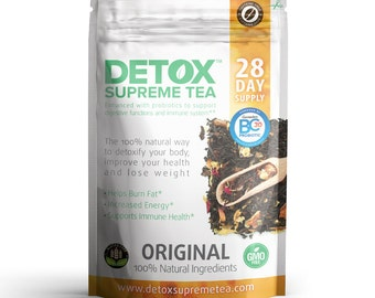 Detox Supreme Weight Loss Caffeine Free Probiotic Tea: Helps Cleanse Body, Reduce Bloating, & Suppress Appetite, 28 Day Detox with Probiotic