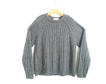 Vintage Jcrew Sweater Gray Cable Knit XL
