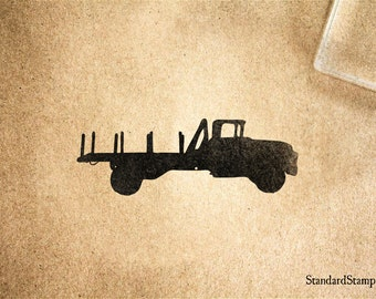 Flatbed Truck Rubber Stamp - 3 x 2 inches