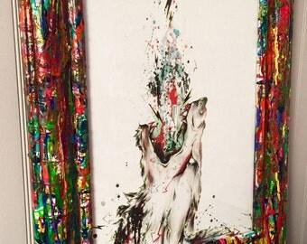 "10x13 Framed ""Cope"" Coyote Desert Watercolor Art Print"