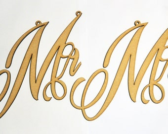 Wedding Mr and Mrs Chair Signs Props Hanging Laser Cut Wood