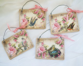 4 Bird Ornaments Hang Tags Shabby Rose Chic Garden Chic Christmas