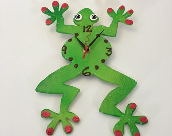 Kids Wall Clock,Unique Clock,Handmade clock, Frog Clock, Unique wall Clock, Decorative Wall Clock, Ceramic Clock
