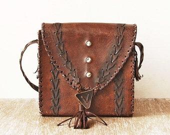 Old Leather Purse Handbag, Dark Brown Vintage Bag, Leather Vintage Shoulder Bag