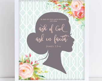LDS Young Women Theme 2017, Floral Mutual Theme 2017, James 1:5–6, Printable Young Women Theme 2017