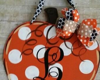 Door decoration,Chevron Fall Pumpkin, door hanger , fall wreath, happy fall, fall door decoration