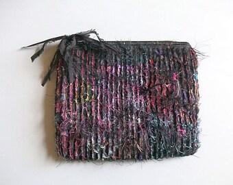 Black Satin Clutch Bag, Slashed Textile Art Work Purse, Handmade UK Seller, One of a Kind Bag.