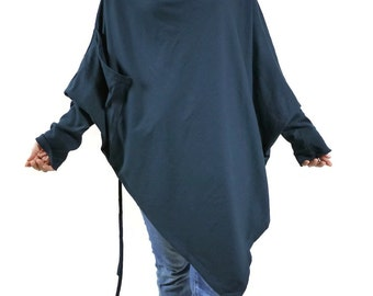 Women Oversize Batwing Sleeve Pullover Cowl Neck Poncho Dark Blueish Charcoal Jersey Cotton Cloak - B022