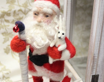 Needle felted Santa-Christmas decoration-Waldorf-Winter Decor-Fiber Arts