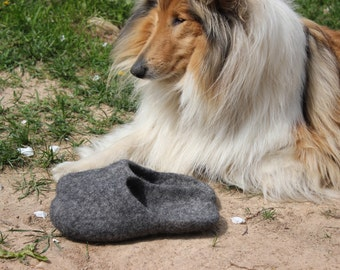 Felted slippers for men Gray natural wool slippers open heel
