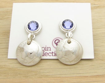 For 50th: 1967 US Dime with Birthstone Post Earrings 50th Birthday or 50th Anniversary Gift Coin Jewelry