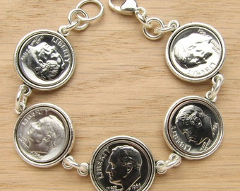 1965-2016 US Dime Tibetan Style Bracelet - Birthday or Anniversary Gift Coin Jewelry