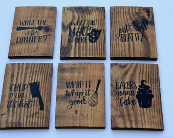 Set of 6 Funny Kitchen Signs | Kitchen Signs | Kitchen Decor | Wooden Kitchen Signs | Kitchen | Housewarming Gift | Gift Ideas For Mom