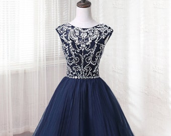short Tulle prom dress, Navy blue homecoming dress, formal dress