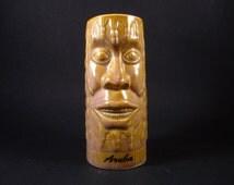 Unusual Ceramic Tiki Mug Glass Cup, CHIKI TIKI, Aruba Souvenir, Hawaii Polynesia Dreadlocks Design