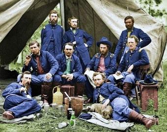 Civil War Union Soldiers taking a break in 1863