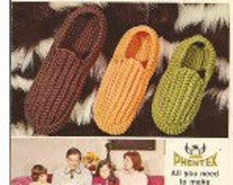 Crochet Slippers Vintage Pattern For Child Men Women