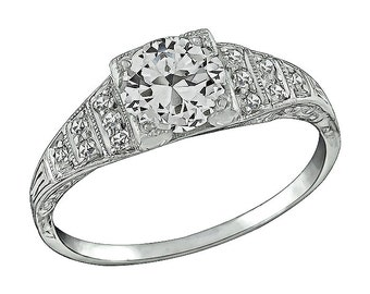 Vintage 0.75ct Diamond Platinum Engagement Ring
