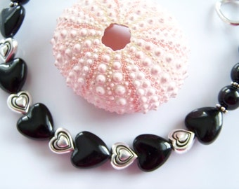 SALE Black Onxy Heart Beaded Bracelet - Item B0459