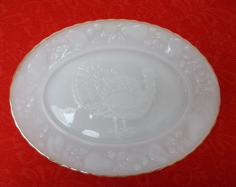 Large White Turkey Platter With Gold Rim Oven Proof Made In the U.S.A. by Anchor Hocking In the 1970's