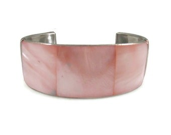 Pink Mother of Pearl Shell and Silver Tone Cuff Bracelet