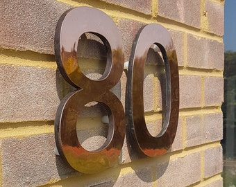 "Large  architectural copper 3D numbers  9"" or 12"" high floating with secret fixing, Antigoni font"