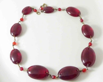 Vintage Art Deco Cherry Red Glass Bead Necklace