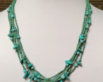 """Afghan Turquoise Silvertone 5 Strand Necklace 18.5"""""""