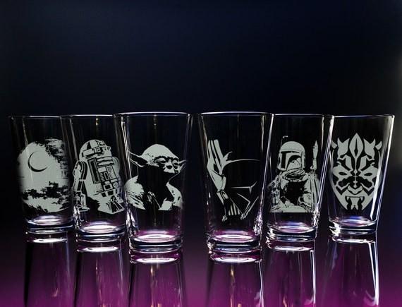 Star Wars Glass Glassware Darth Vader R2D2 Storm Trooper