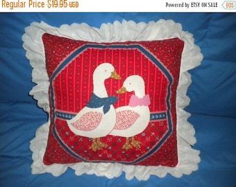 Goose and Gander on a Red Pillow, Red Pillow with Two Geese, Retro Style Pillow with Two Geese
